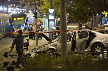 Scene of Jerusalem light rail attack