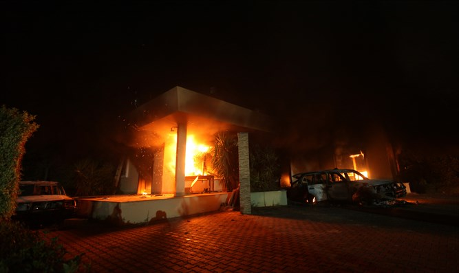 US Consulate in Benghazi seen in flames during 2012 attack